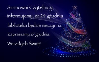 24 grudnia biblioteka będzie nieczynna.